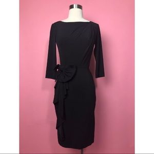 Rickie Freeman Teri Jon black 3/4 sleeve dress 4S